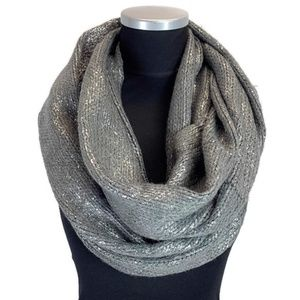 Beautiful Grey with Metallic Silver Infinity Scarf